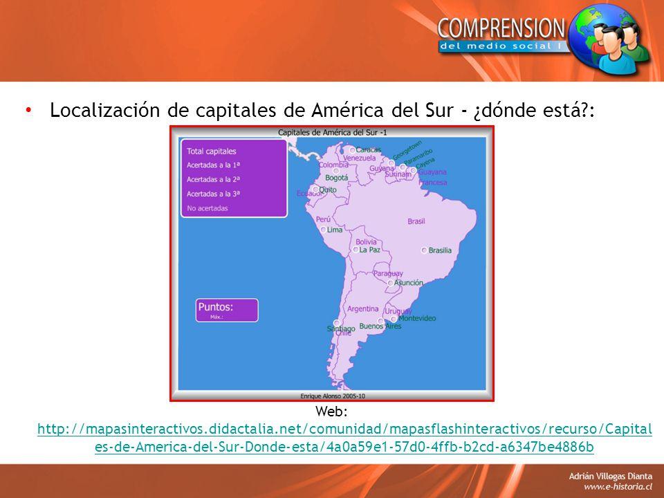 Localización de capitales de América del Sur - ¿dónde está :