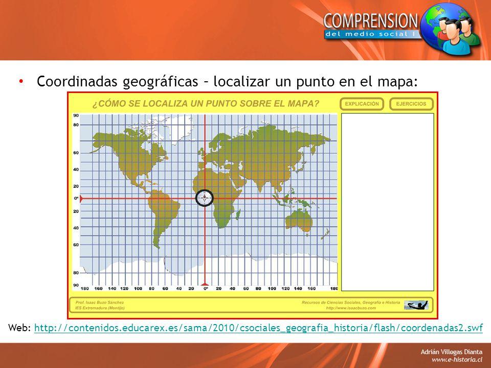 Coordinadas geográficas – localizar un punto en el mapa: