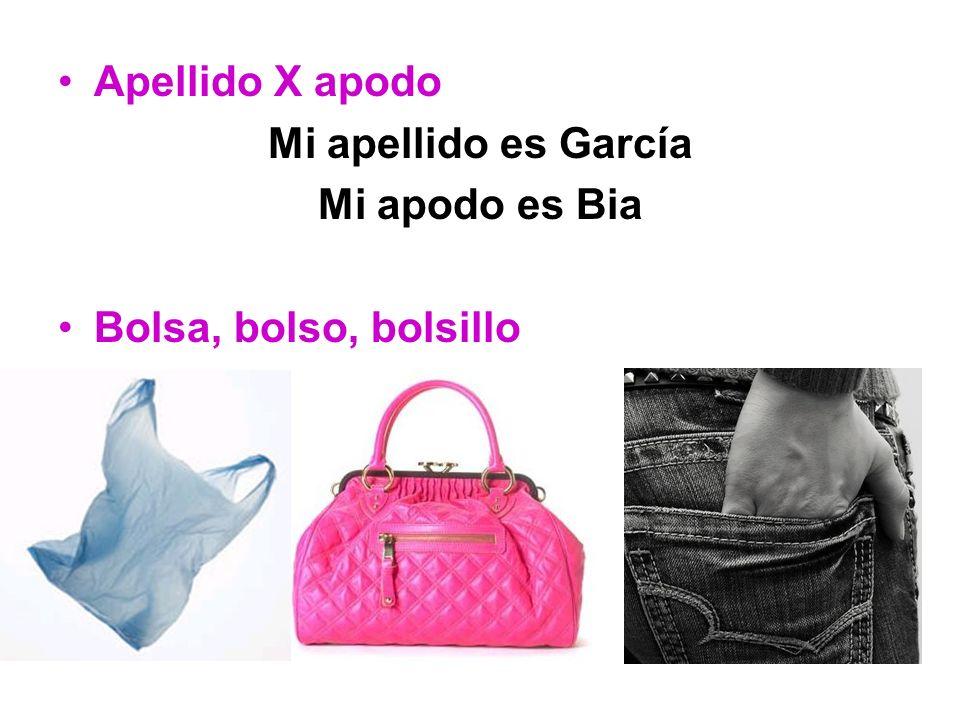 Apellido X apodo Mi apellido es García Mi apodo es Bia Bolsa, bolso, bolsillo