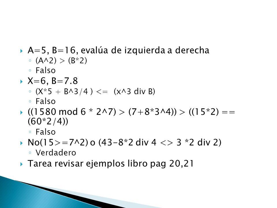 A=5, B=16, evalúa de izquierda a derecha