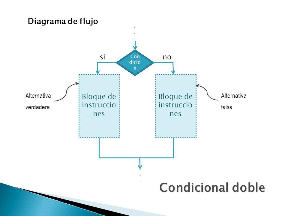 Condicional doble Diagrama de flujo si no Bloque de instrucciones