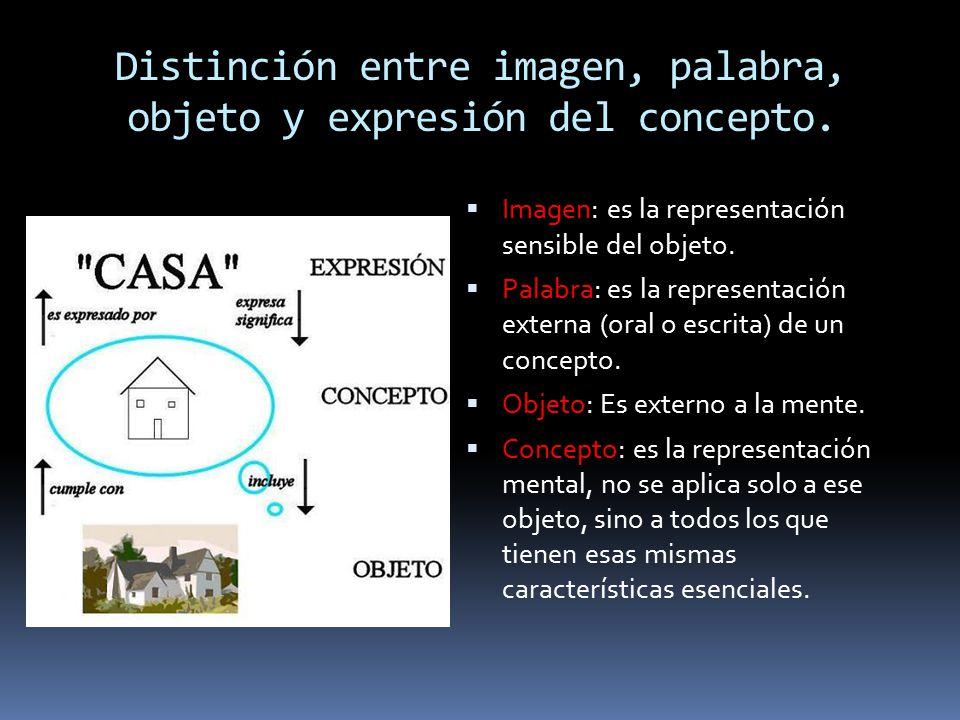 Distinción entre imagen, palabra, objeto y expresión del concepto.