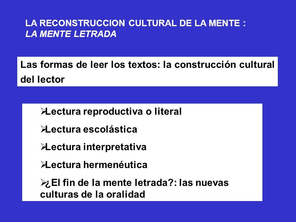 Las formas de leer los textos: la construcción cultural del lector