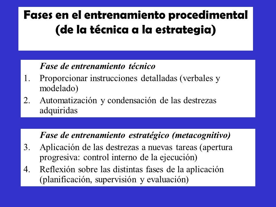 Fases en el entrenamiento procedimental (de la técnica a la estrategia)