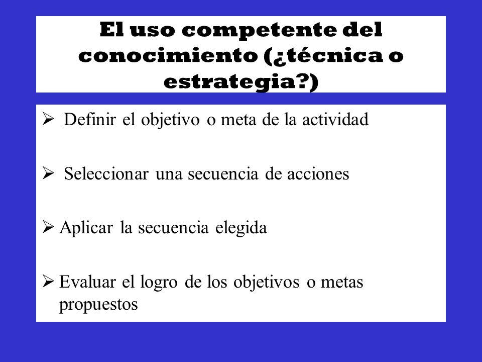 El uso competente del conocimiento (¿técnica o estrategia )
