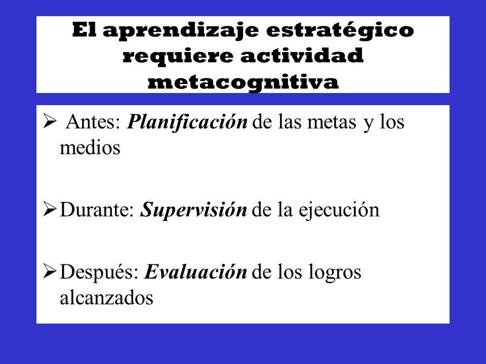 El aprendizaje estratégico requiere actividad metacognitiva