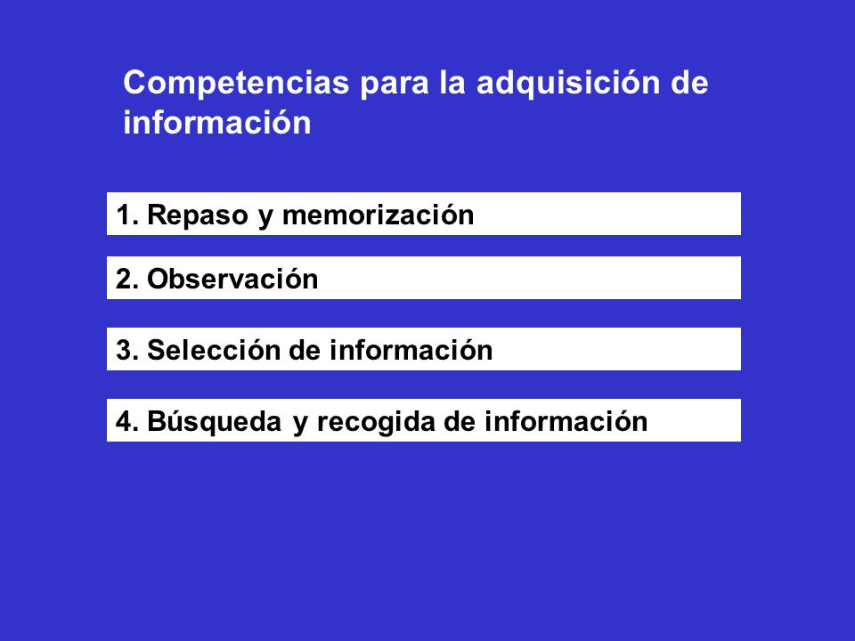 Competencias para la adquisición de información