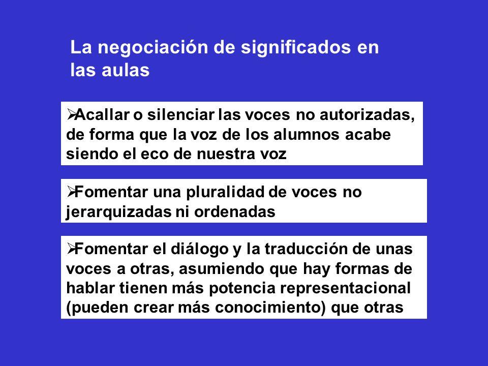 La negociación de significados en las aulas