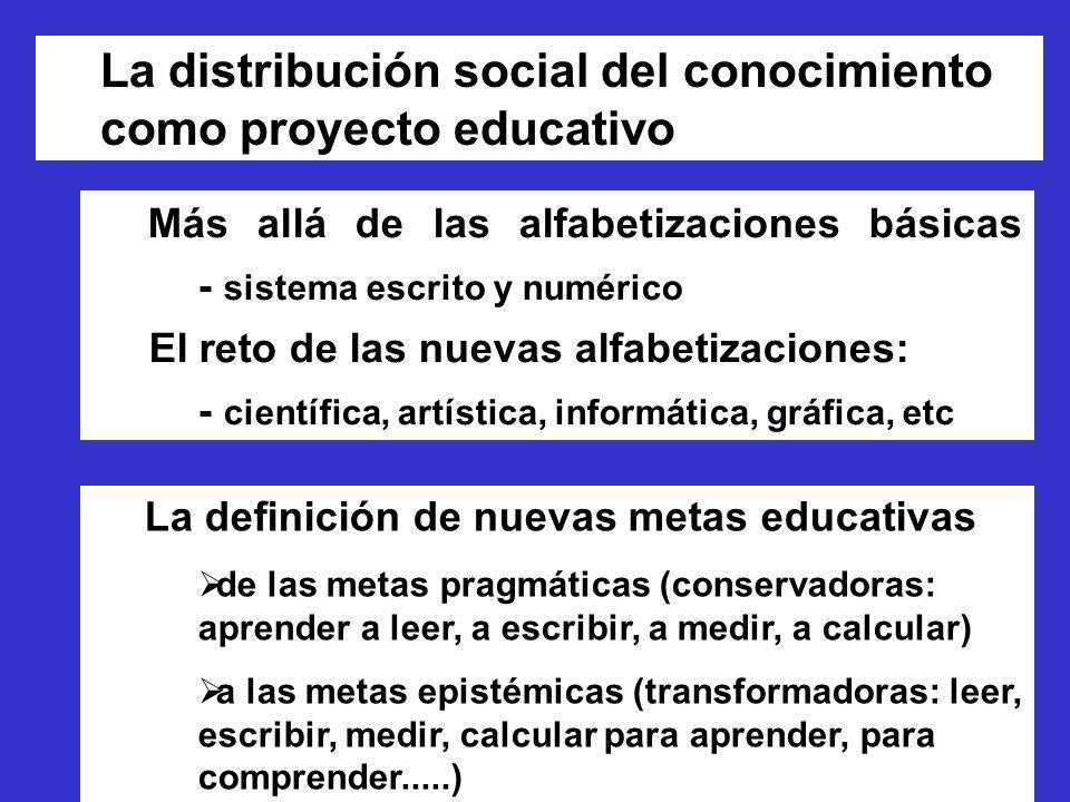 La distribución social del conocimiento como proyecto educativo