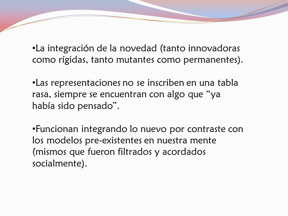 La integración de la novedad (tanto innovadoras como rígidas, tanto mutantes como permanentes).
