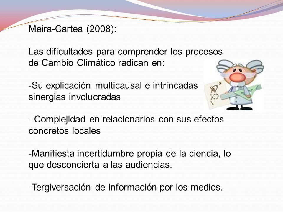 Meira-Cartea (2008): Las dificultades para comprender los procesos de Cambio Climático radican en:
