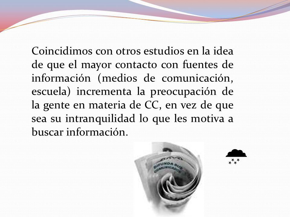 Coincidimos con otros estudios en la idea de que el mayor contacto con fuentes de información (medios de comunicación, escuela) incrementa la preocupación de la gente en materia de CC, en vez de que sea su intranquilidad lo que les motiva a buscar información.