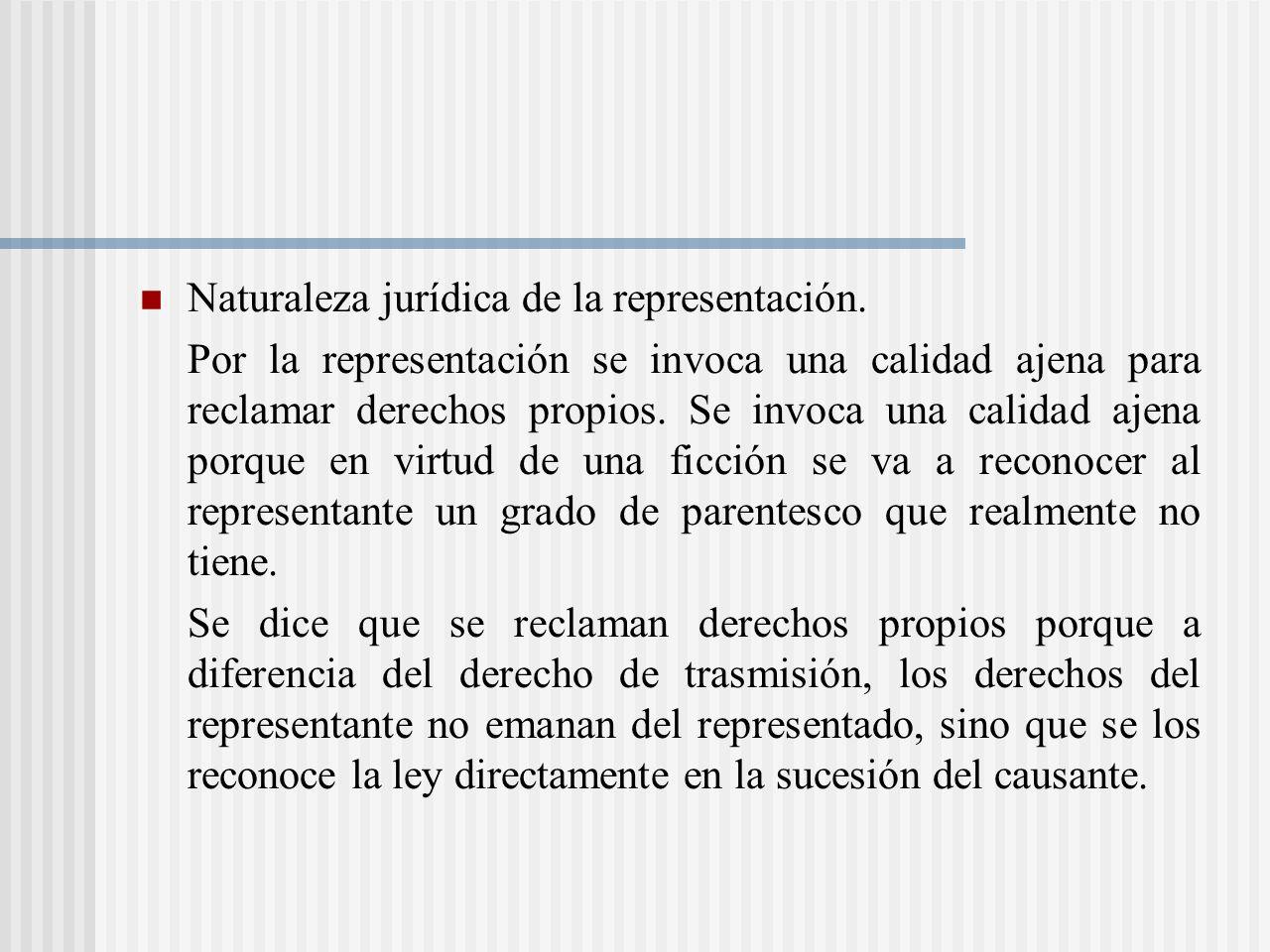 Naturaleza jurídica de la representación.