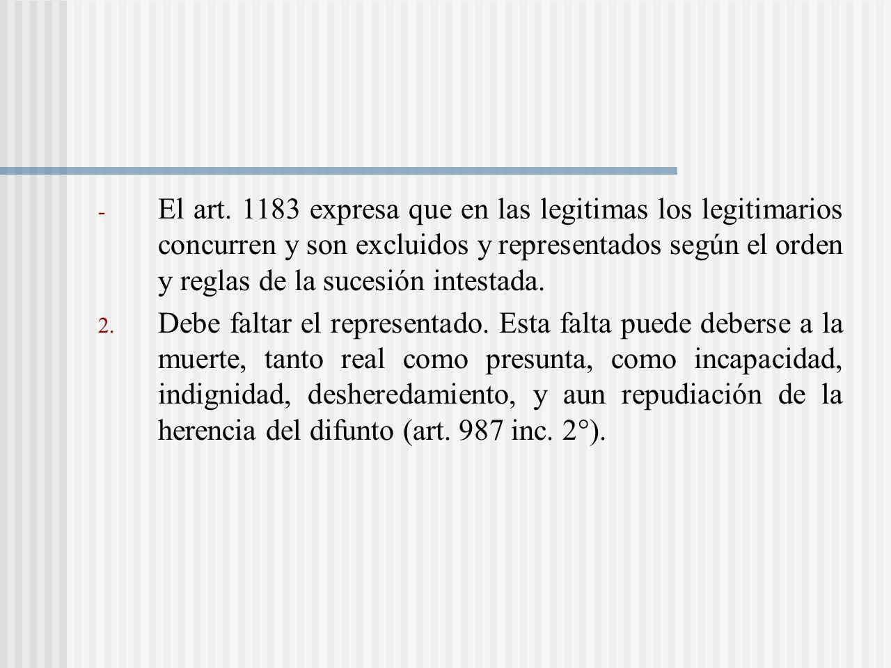 El art. 1183 expresa que en las legitimas los legitimarios concurren y son excluidos y representados según el orden y reglas de la sucesión intestada.