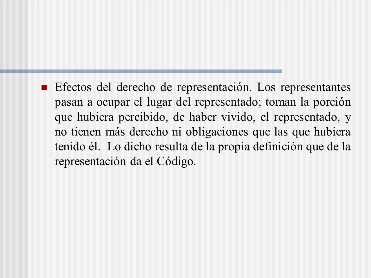 Efectos del derecho de representación