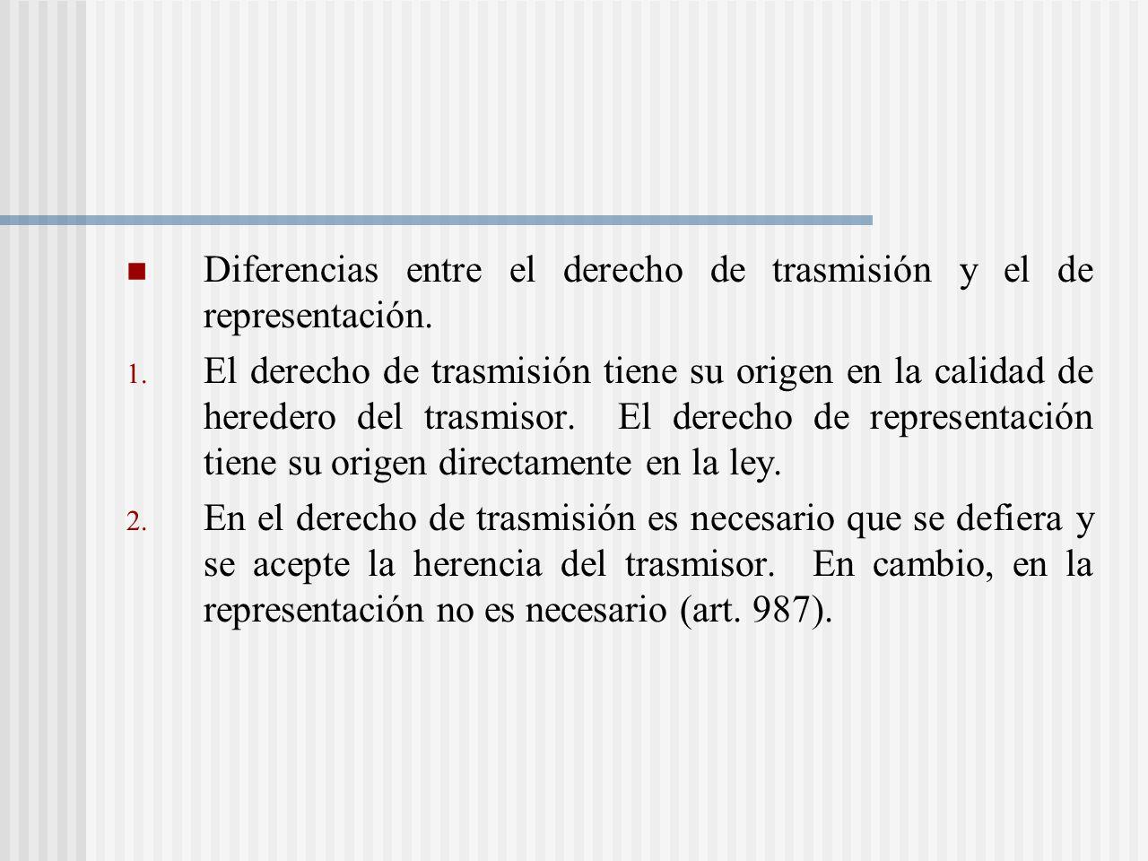 Diferencias entre el derecho de trasmisión y el de representación.