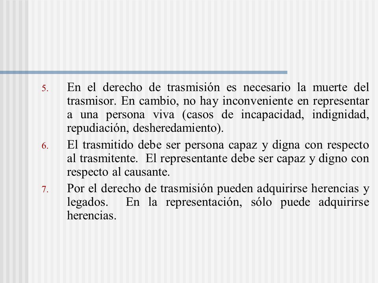 En el derecho de trasmisión es necesario la muerte del trasmisor