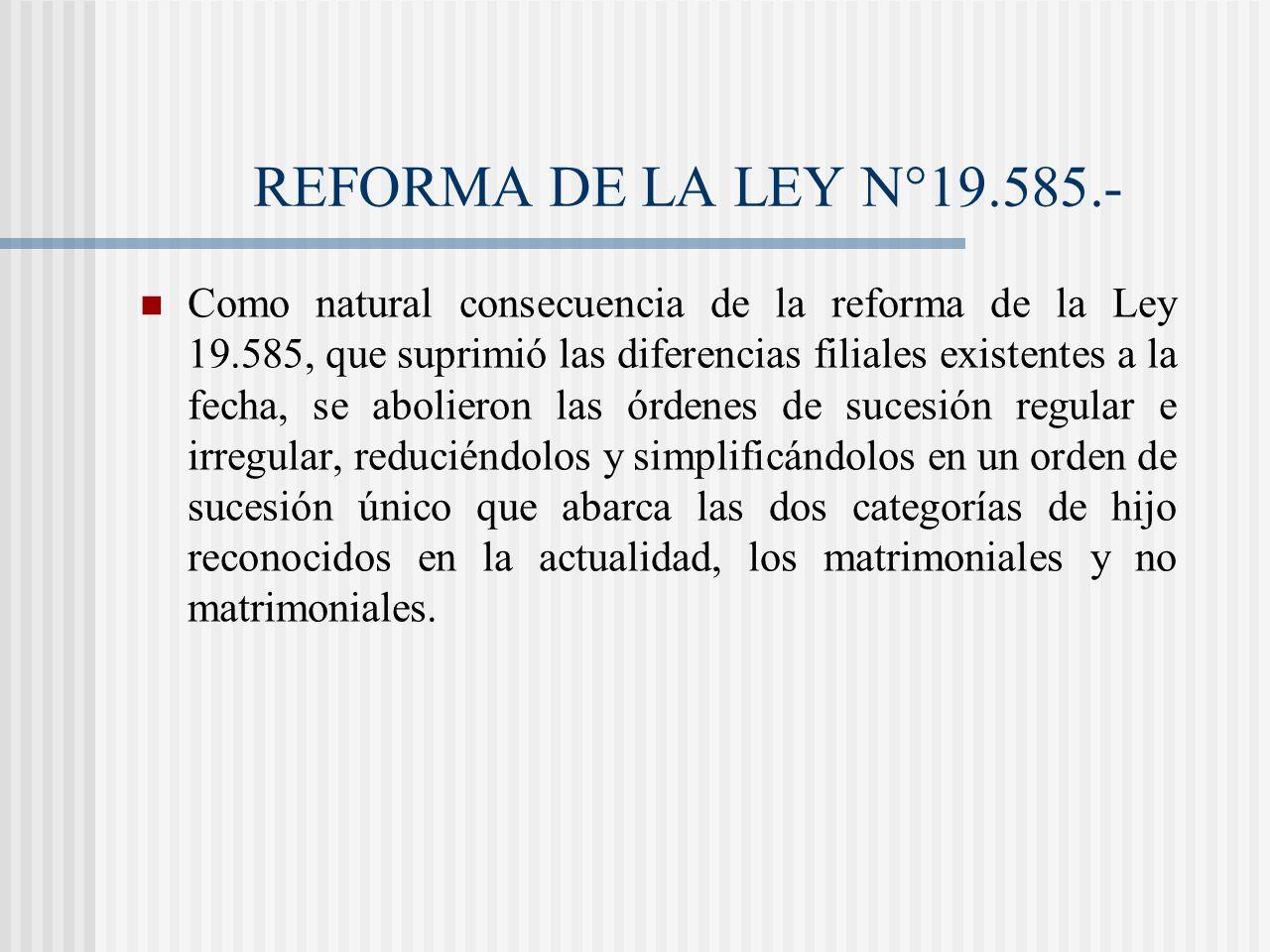 REFORMA DE LA LEY N°19.585.-