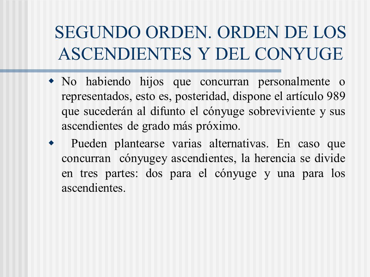 SEGUNDO ORDEN. ORDEN DE LOS ASCENDIENTES Y DEL CONYUGE