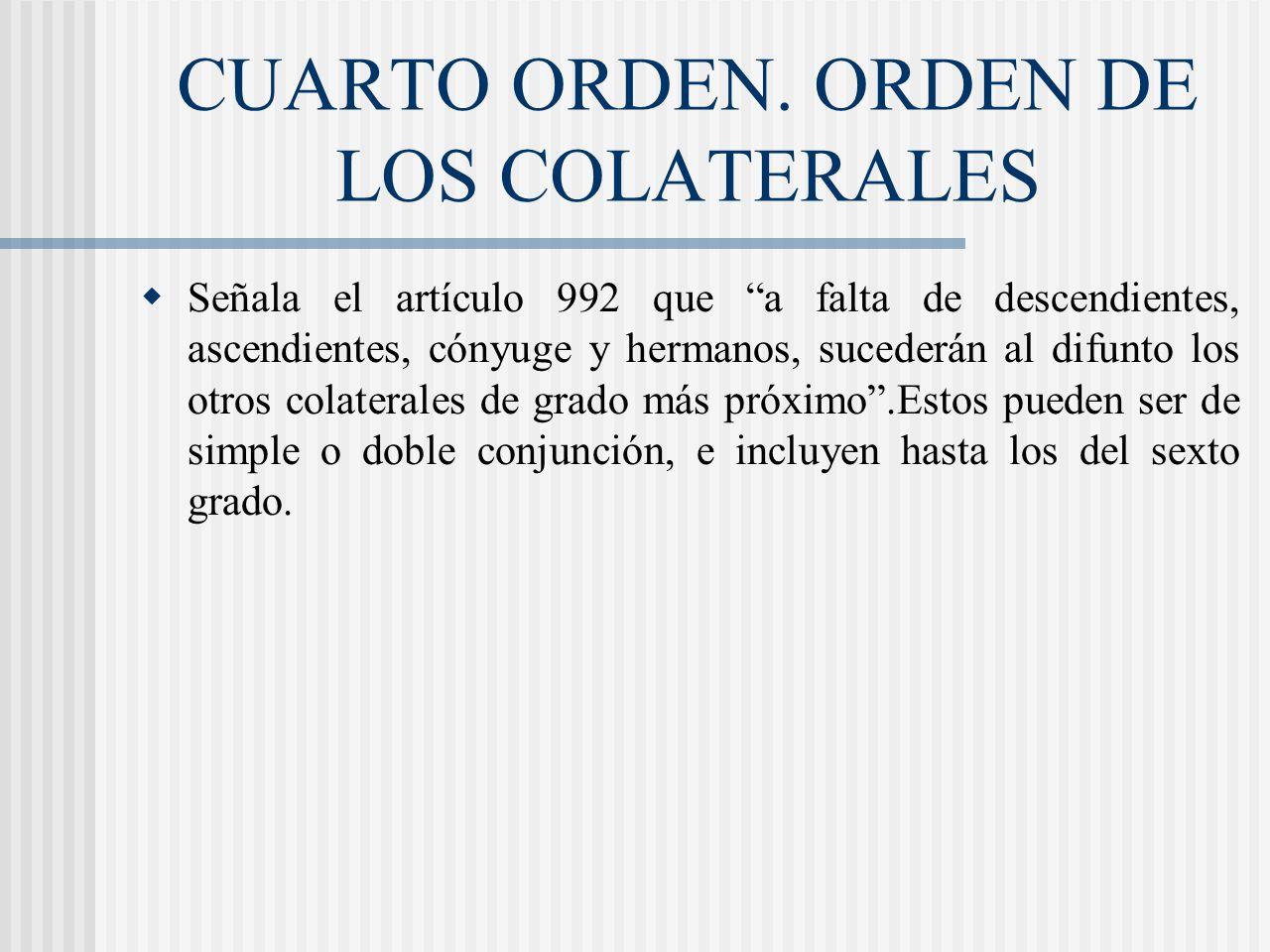 CUARTO ORDEN. ORDEN DE LOS COLATERALES