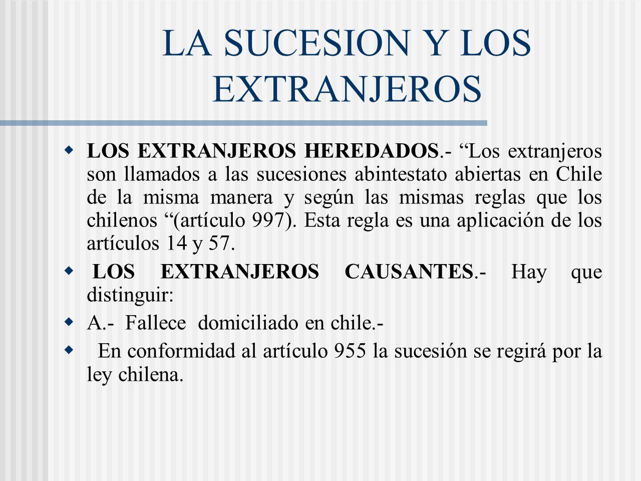 LA SUCESION Y LOS EXTRANJEROS