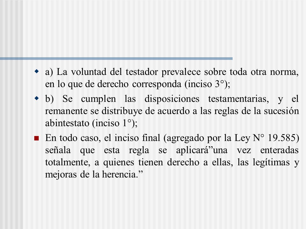 a) La voluntad del testador prevalece sobre toda otra norma, en lo que de derecho corresponda (inciso 3°);