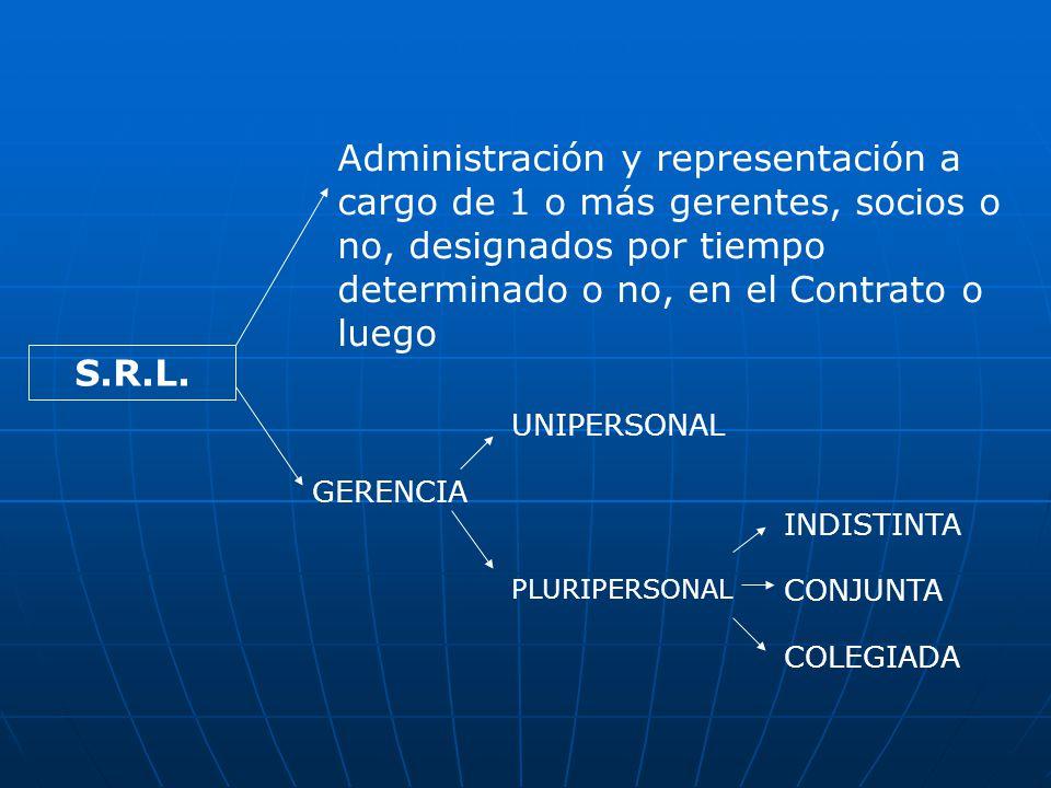 Administración y representación a cargo de 1 o más gerentes, socios o no, designados por tiempo determinado o no, en el Contrato o luego