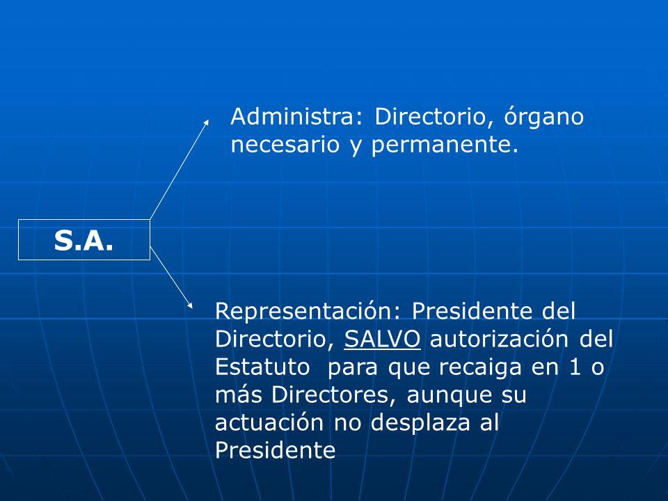 S.A. Administra: Directorio, órgano necesario y permanente.