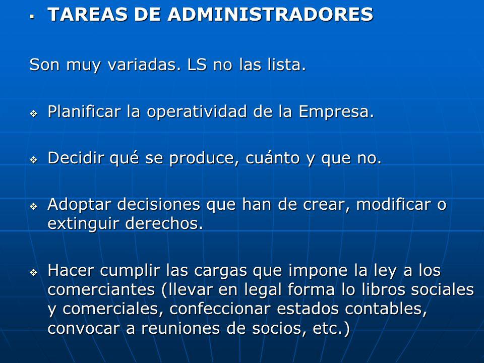 TAREAS DE ADMINISTRADORES