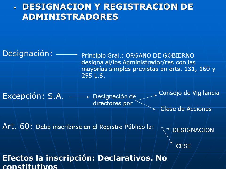 DESIGNACION Y REGISTRACION DE ADMINISTRADORES