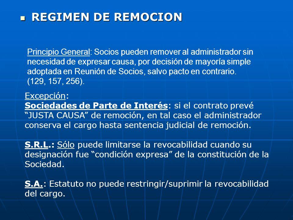REGIMEN DE REMOCION