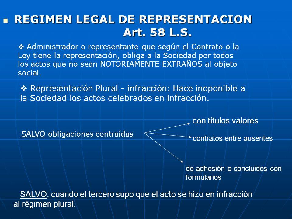 REGIMEN LEGAL DE REPRESENTACION Art. 58 L.S.