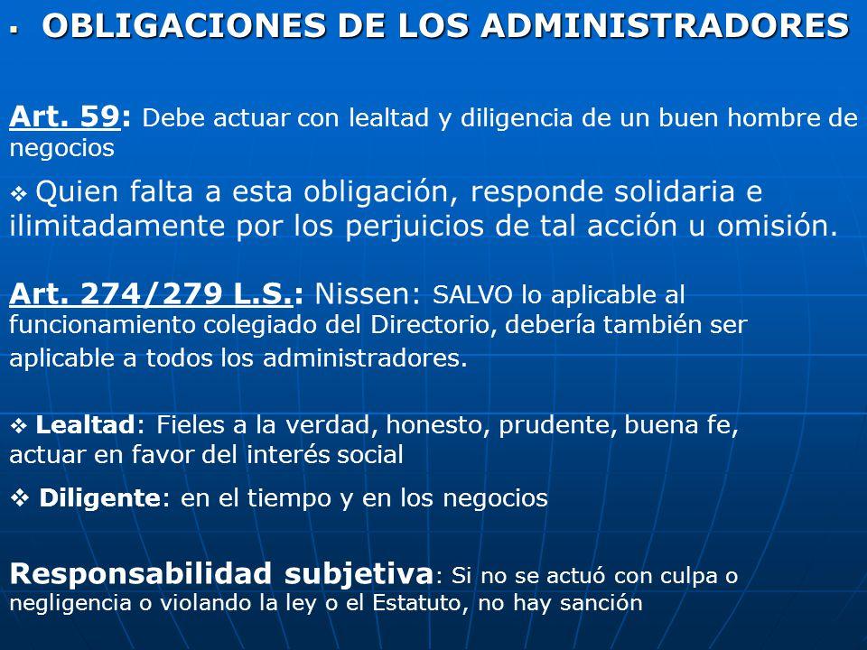 OBLIGACIONES DE LOS ADMINISTRADORES