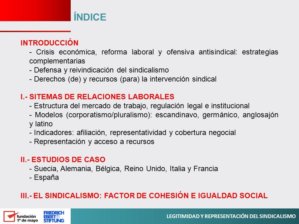 ÍNDICE INTRODUCCIÓN. - Crisis económica, reforma laboral y ofensiva antisindical: estrategias complementarias.