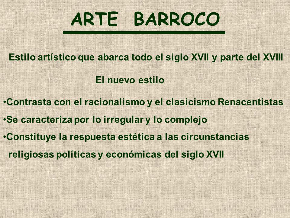 ARTE BARROCO Estilo artístico que abarca todo el siglo XVII y parte del XVIII. El nuevo estilo.