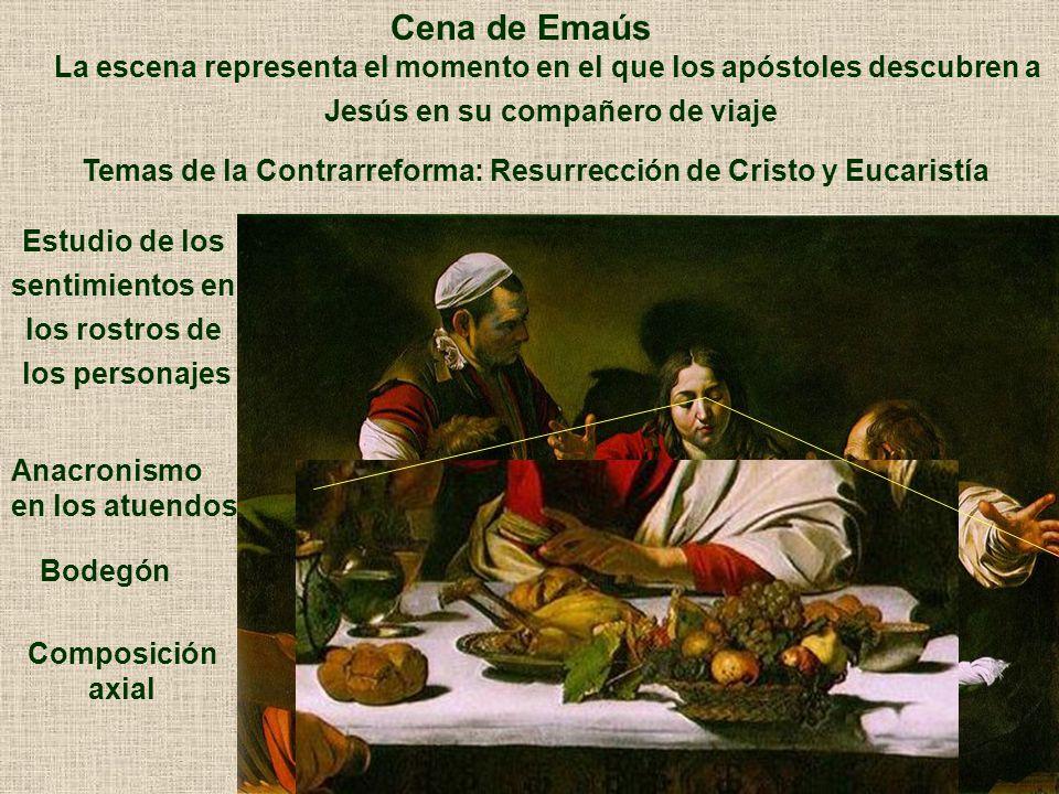 Cena de Emaús La escena representa el momento en el que los apóstoles descubren a. Jesús en su compañero de viaje.