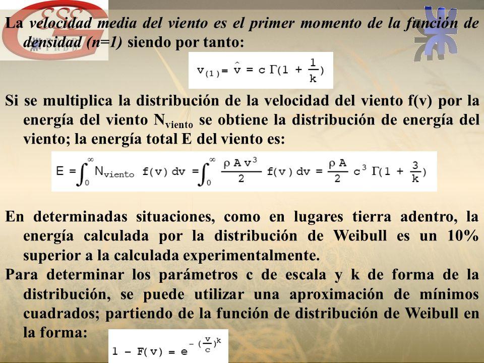 La velocidad media del viento es el primer momento de la función de densidad (n=1) siendo por tanto: