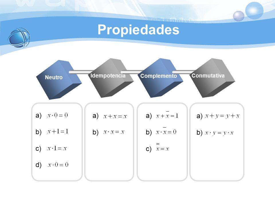 Propiedades a) b) c) d) a) b) a) b) c) a) b) Idempotencia Neutro