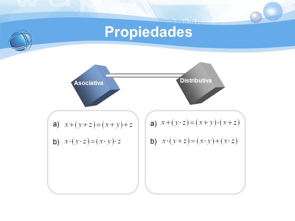 Propiedades Distributiva Asociativa a) b) a) b)