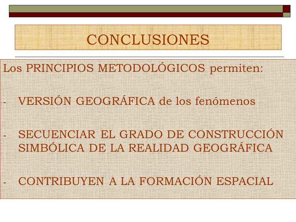 CONCLUSIONES Los PRINCIPIOS METODOLÓGICOS permiten: