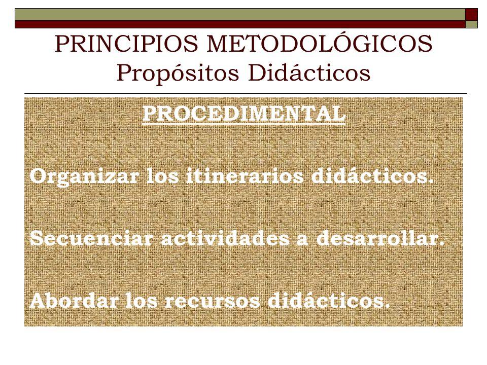 PRINCIPIOS METODOLÓGICOS Propósitos Didácticos