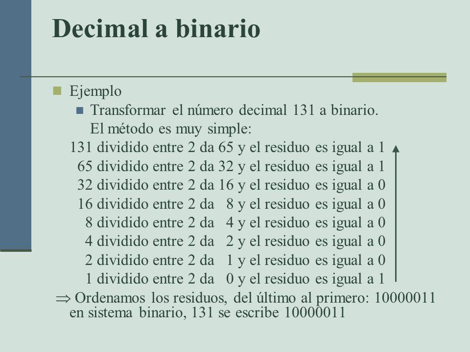 Decimal a binario Ejemplo Transformar el número decimal 131 a binario.