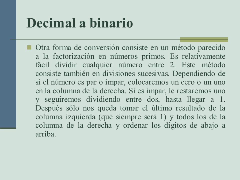 Decimal a binario