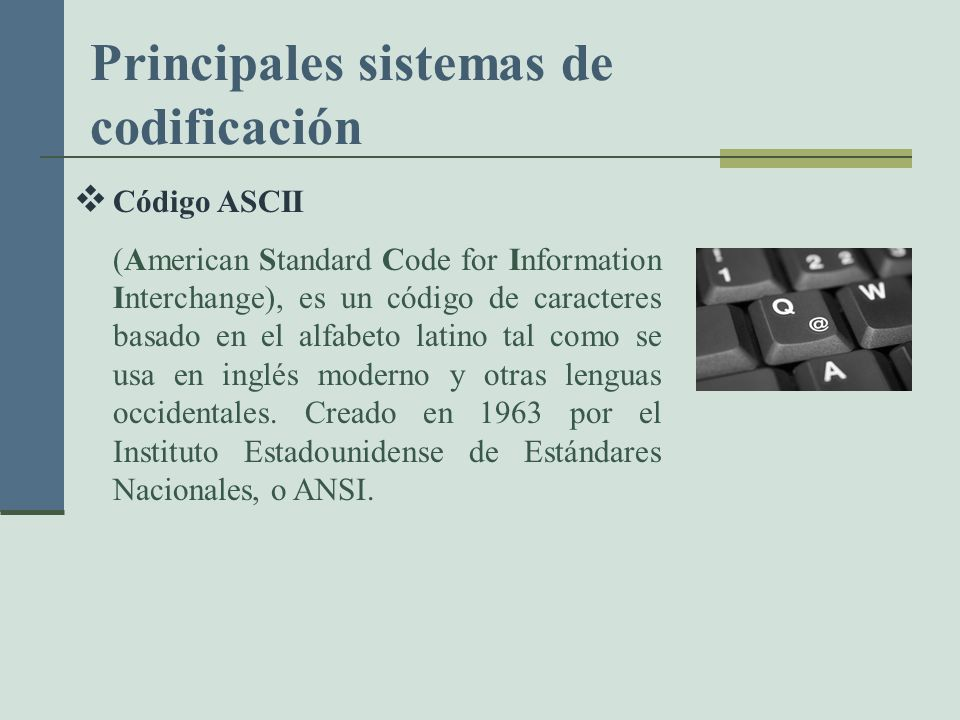 Principales sistemas de codificación