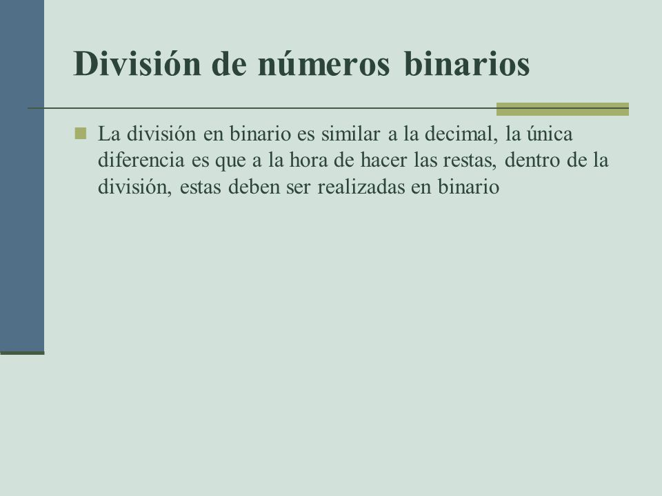 División de números binarios