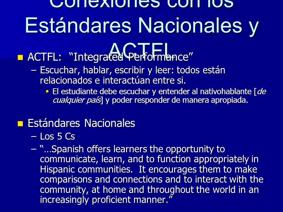 Conexiones con los Estándares Nacionales y ACTFL