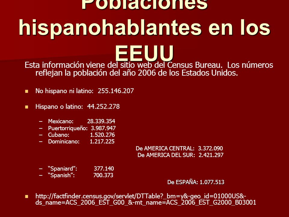 Poblaciones hispanohablantes en los EEUU