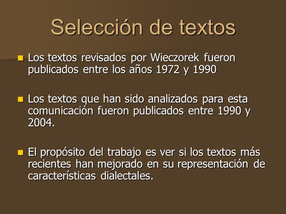 Selección de textos Los textos revisados por Wieczorek fueron publicados entre los años 1972 y 1990.