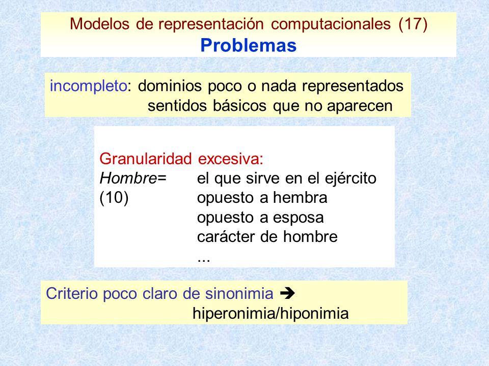 Modelos de representación computacionales (17) Problemas