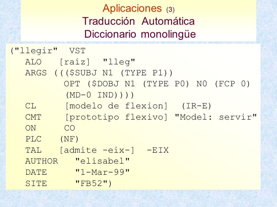 Aplicaciones (3) Traducción Automática Diccionario monolingüe